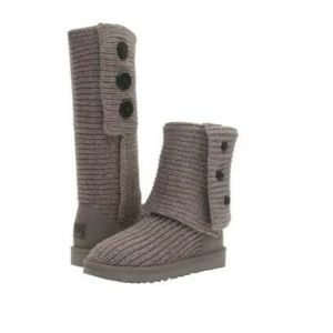 UGG Australia Classic Cardy Gray Knit Boots 8 M